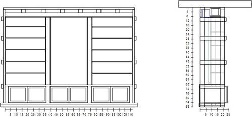 Here Is The Framing Detail Of The Cabinet. On The Right Drawing You Can See  The Screen Case In Blue Right In Front Of The I Beam.